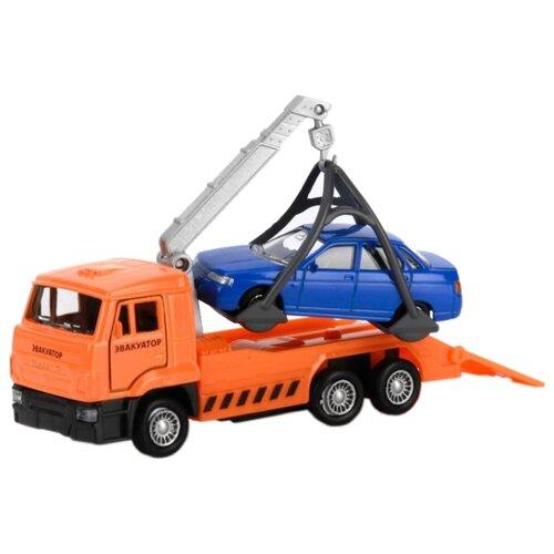 Купить Набор машин ТЕХНОПАРК КамАЗ Эвакуатор с машиной (SB-16-27-A2-WB) 12 см оранжевый/синий, Машинки и техника
