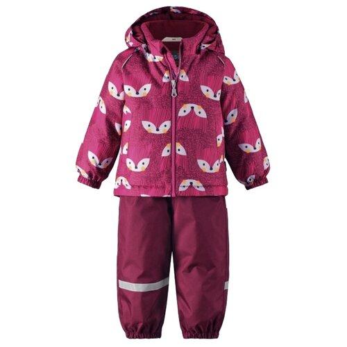Комплект с полукомбинезоном Lassie 713732-3991 размер 98, розовый принт/темно-вишневый