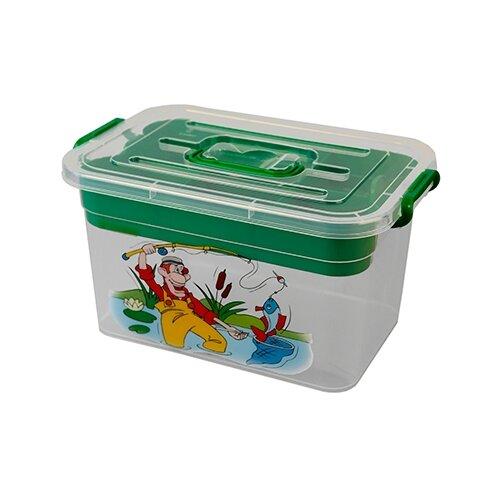 Ящик для рыбалки ПОЛИМЕРБЫТ Рыбалка 35.5х19х23.5см зеленый с рисунком