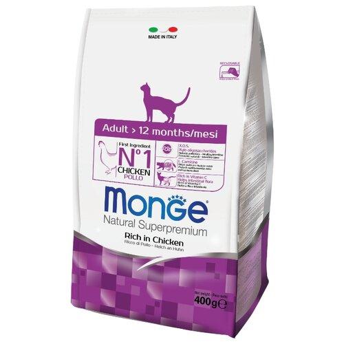 Корм для кошек Monge (0.4 кг) Cat Adult – для взрослых кошек с курицей и рисомКорма для кошек<br>
