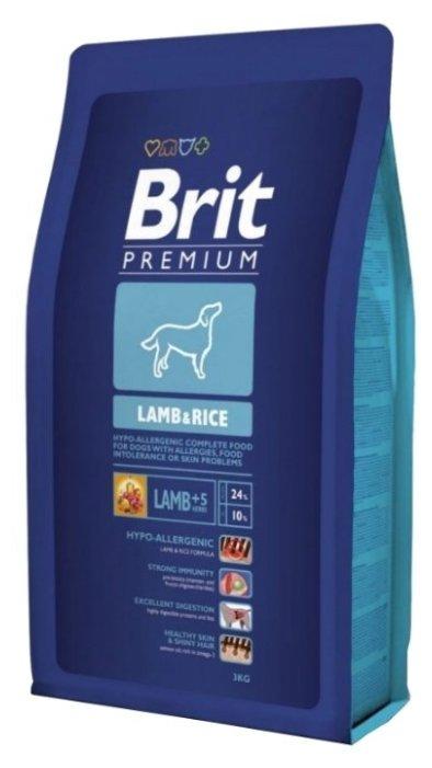 Корм для собак Brit Premium для здоровья кожи и шерсти, ягненок с рисом 8 кг