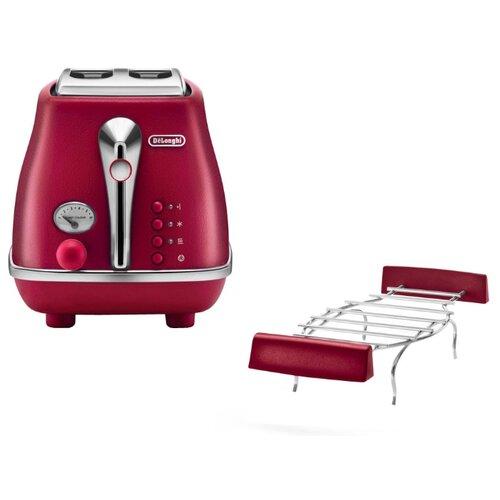 Тостер De'Longhi CTOE 2103.R Icona Elements, красный тостер de longhi ctoe 2103 bl icona elements синий