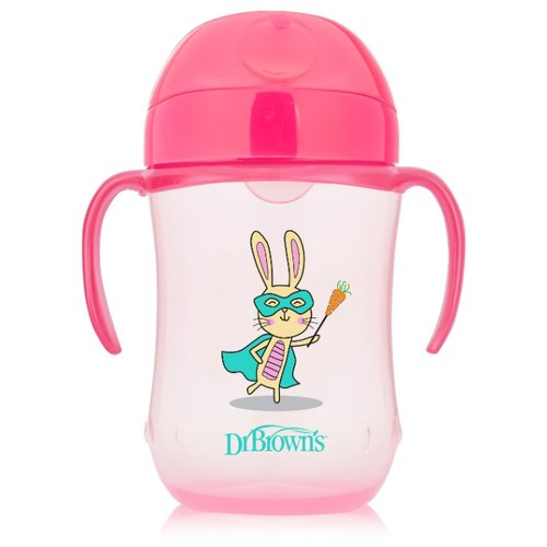 Купить Поильник-непроливайка Dr. Brown's Soft-Spout Toddler Cup TC91024/TC91025, 270 мл розовый супергерой, Поильники