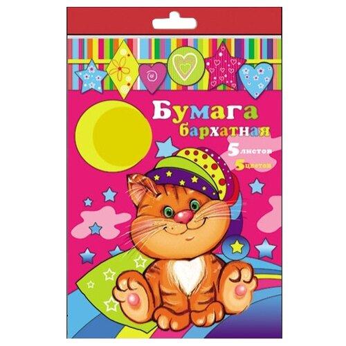 Купить Цветная бумага бархатная 24403 Феникс+, A4, 5 л., 5 цв., Цветная бумага и картон