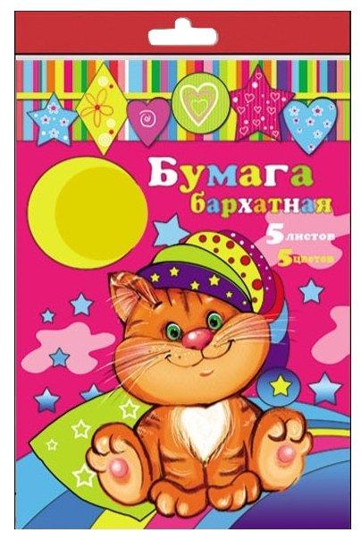 Цветная бумага бархатная 24403 Феникс+, A4, 5 л., 5 цв.