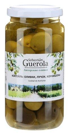 Sebastian Guerola Ассорти из оливок, лучка, корнишонов в рассоле, стеклянная банка 370 г