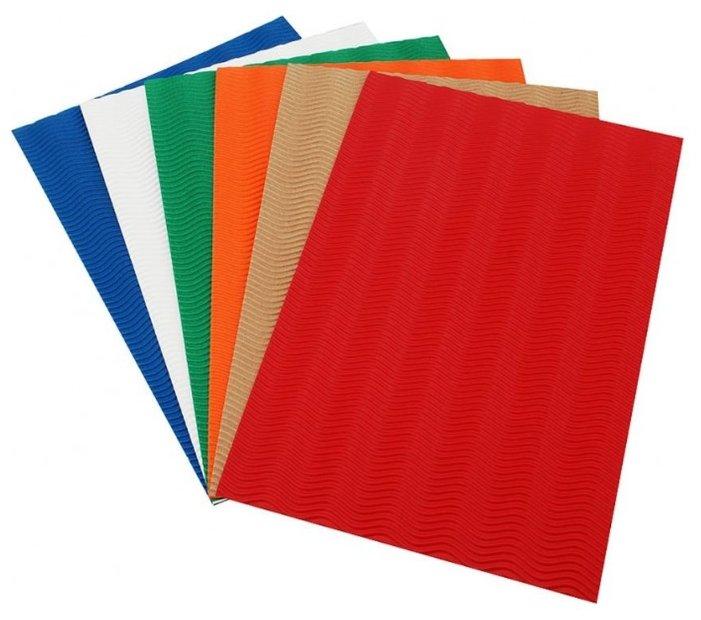 Цветная бумага гофрированная Шесть цветов Белоснежка, 22х32.5 см, 6 л., 6 цв.