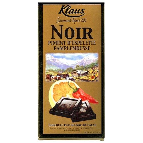 шоколад klaus горький с какао из перу с апельсином и перцем 100 г Шоколад Klaus темный с перцем и грейпфрутом, 100 г