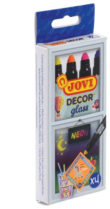 JOVI Мелки восковые выдвижные Decor glass 4 цвета Неон 1904N