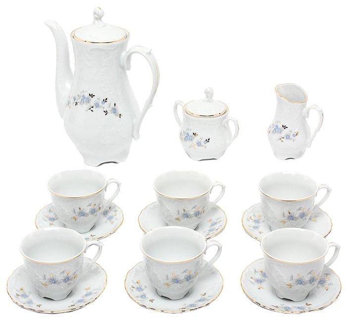 Кофейный сервиз Cmielow Rococo (Голубой цветок) 15 предметов