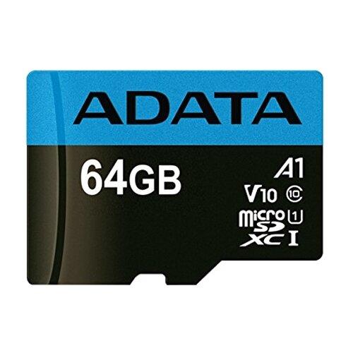 Фото - Карта памяти ADATA Premier microSDXC UHS-I U1 V10 A1 Class10 + SD adapter 64 GB, чтение: 100 MB/s, запись: 25 MB/s, адаптер на SD карта памяти adata 256gb microsdxc class 10 uhs i a1 100 25 mb s sd адаптер ausdx256guicl10a1 ra1