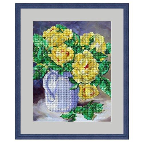 Galla Collection Набор для вышивания бисером Желтые розы 23 х 29 см (Л340) набор для вышивания galla collection бисером икона спас нерукотворный 23 x 27 см