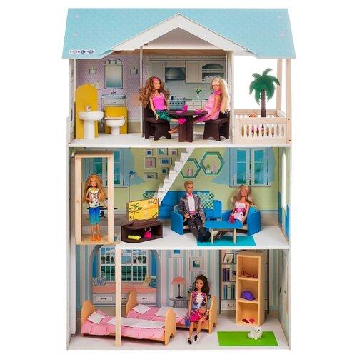 paremo кукольный домик эмилия романья с мебелью pd318 04 розовый голубой PAREMO кукольный домик Лацио (с мебелью) PD318-16, голубой/белый