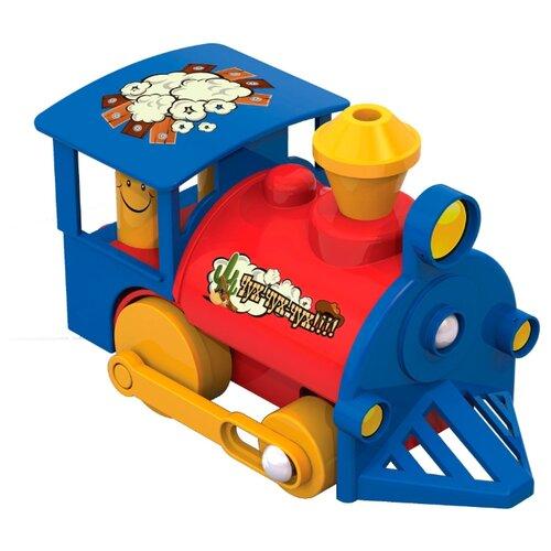 Купить Каталка-игрушка Нордпласт Паровозик (010) красный/синий/желтый, Каталки и качалки
