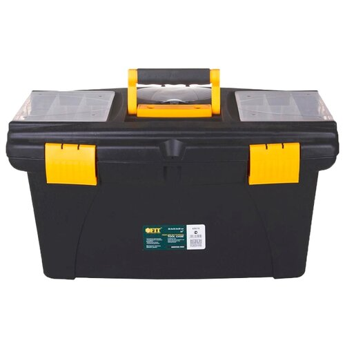 Ящик с органайзером FIT 65574 56.5x32.5x29 см 22'' черный/желтый ящик с органайзером stanley mega line cantilever 1 92 911 49 5x26 1x26 5 см черный желтый