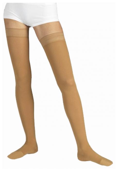 Чулки Tonus Elast 0402 Lux с силиконовыми лентами, противоварикозные, 2 класс размер 5, рост 158-170 см, песочный