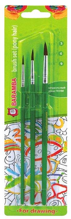 Набор кистей BARAMBA пони, круглые, с длинной ручкой, 3 шт. (B820369)