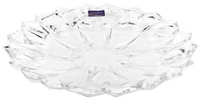 Коралл Блюдо сервировочное Гранение лед 34 см прозрачный
