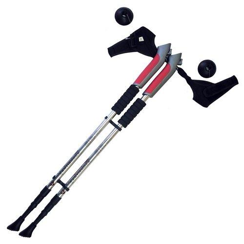 Палки для скандинавской ходьбы 2 шт. Hawk Телескопические с системой Антишок F18449 серебристый/черный/красный