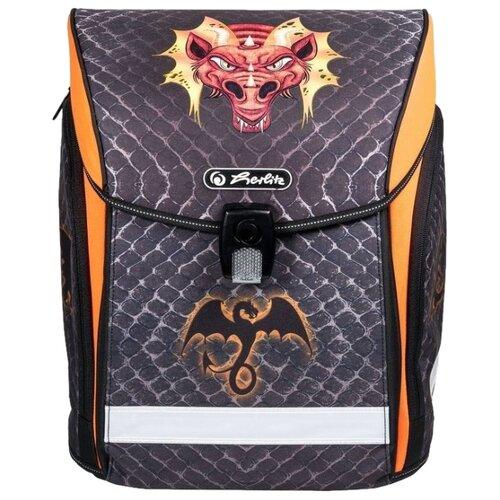 Herlitz Ранец New Midi Dragon, черный/оранжевый