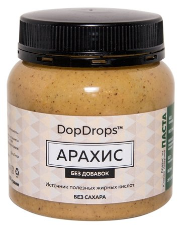 DopDrops Паста ореховая Арахис без добавок пластик