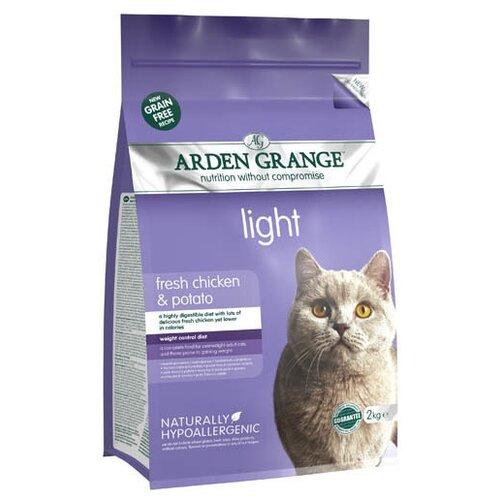 Корм для кошек Arden Grange Adult Cat Light курица и картофель сухой корм беззерновой, для взрослых кошек, диетический 2 кг