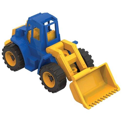 Трактор Нордпласт Ангара с грейдером (140) 35.5 см синий/желтый машины нордпласт трактор ангара с грейдером и ковшом