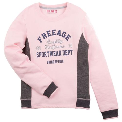 Купить Свитшот Free Age размер 98, розовый/серый меланж, Толстовки