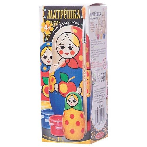 Купить Десятое королевство Набор для творчества Матрешка под раскраску 11 см (01964ДК), Роспись предметов