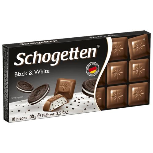 Шоколад Schogetten Black&White молочный с начинкой из ванильного крема и кусочками печенья с какао порционный, 100 г