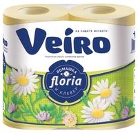 Туалетная бумага Veiro Floria Ромашка и клевер двухслойная 4 шт.