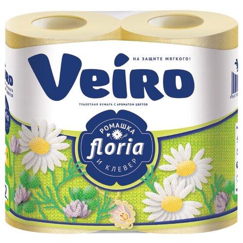 Туалетная бумага Veiro Floria Ромашка и клевер двухслойная 4 рул.