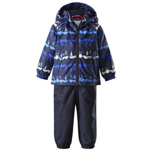 Купить Комплект с полукомбинезоном Reima размер 92, синий/кораблики, Комплекты верхней одежды