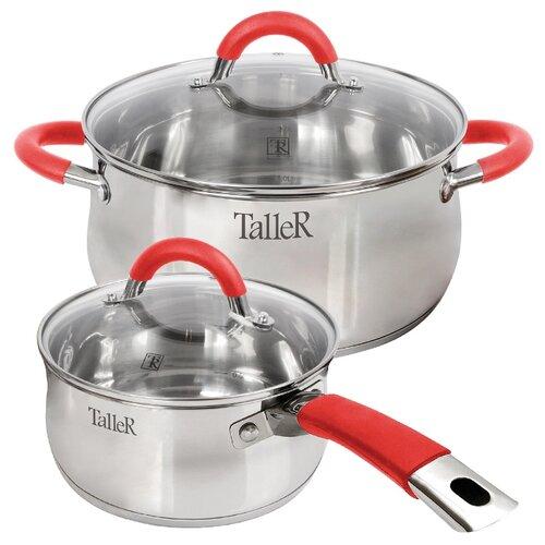Набор посуды Taller Лортон TR-7151 4 пр. стальной/красный