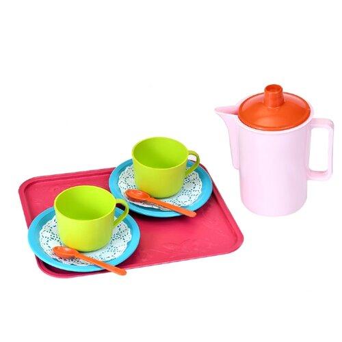 Купить Набор посуды Росигрушка Набор посуды чайный Кисельные берега (9 дет.) зеленый/красный/белый, Игрушечная еда и посуда