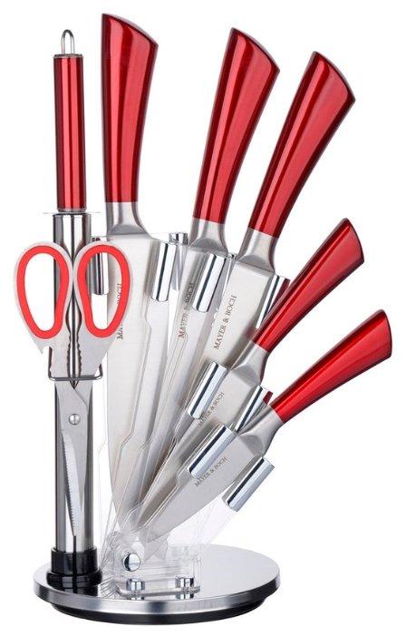 Набор MAYER & BOCH 5 ножей, ножницы и мусат с подставкой 27674 / 27675 красный глянцевый