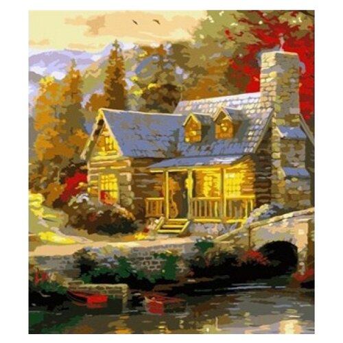 Рыжий кот Картина по номерам Домик в осеннем лесу 30x40 см (G2820) рыжий кот картина по номерам маленький ангелочек 30х40 см x 6161