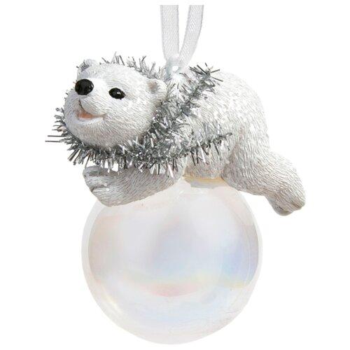 Елочная игрушка Magic Time Мишка на шаре (78169) белый
