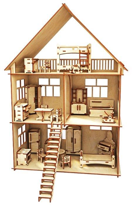 Сборная модель ХэппиДом Коттедж с мебелью (HK-D002),,