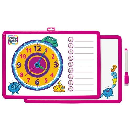 Купить Доска для рисования детская Kribly Boo с часами и маркером розовый, Доски и мольберты