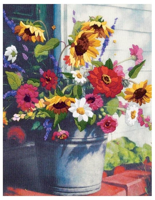 Dimensions Набор для вышивания гладью Bucket of Flowers (Ведро цветов) 28 х 36 см (01534)