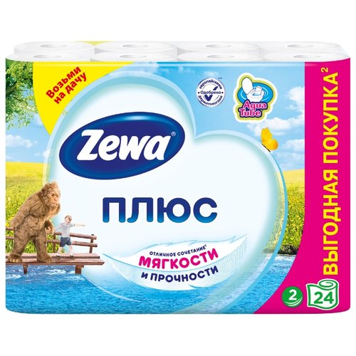 Туалетная бумага Zewa Плюс Белая двухслойная, 24 рул.Туалетная бумага и полотенца<br>