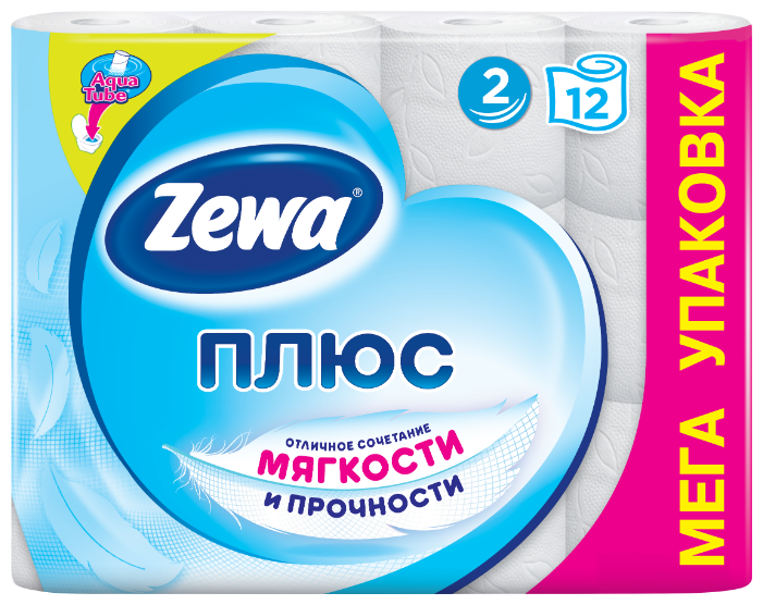 Туалетная бумага Zewa Плюс Белая двухслойная