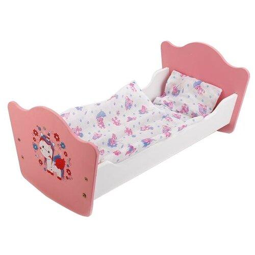 Карапуз Кроватка для куклы Милый пони (RB-P-S) розовый/белый, Мебель для кукол  - купить со скидкой