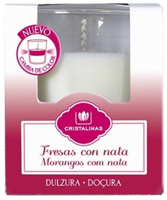 CRISTALINAS Свеча ароматическая двухцветная Клубника со сливками, 20 часов