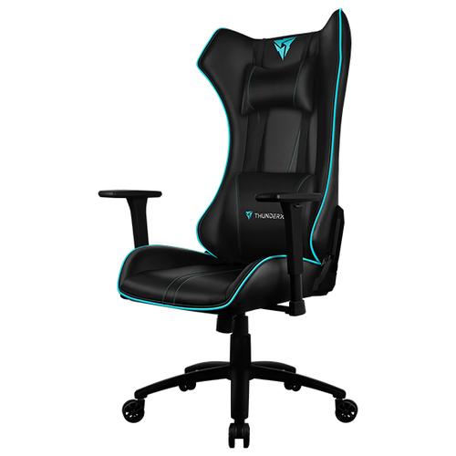 Компьютерное кресло ThunderX3 UC5 Hex игровое, обивка: искусственная кожа, цвет: черный/голубой кресло компьютерное игровое thunderx3 tgc12 bg черный зеленый 4710700959572