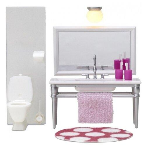 Купить Lundby Набор мебели для ванной комнаты с 1 раковиной Смоланд (LB_60208700) белый/розовый, Мебель для кукол
