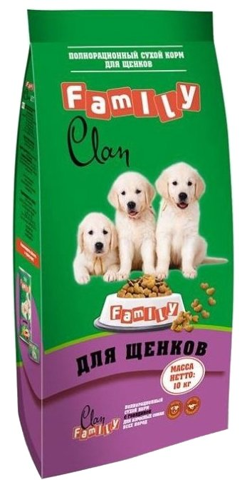 Корм для собак CLAN Family Сухой корм с курицей для щенков всех пород