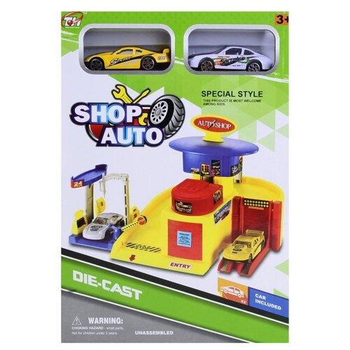 Shantou Gepai Игровой набор Shop Auto парковка, автомойка, сервис TH627 желтый/красный/синий недорого