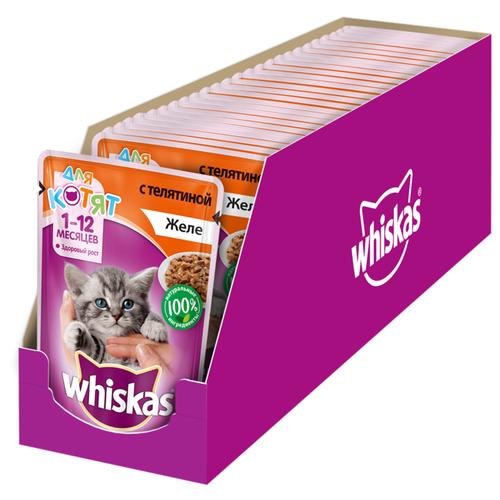 Корм для кошек Whiskas Желе с телятиной для котят (0.085 кг) 24 шт.Корма для кошек<br>